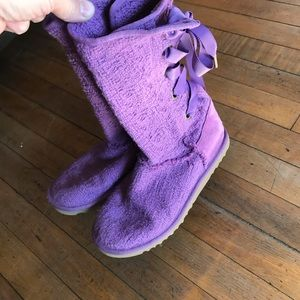 Ugg, cloth , purple, lace up back boots